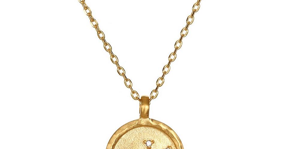 Aquarius Zodiac Necklace Gold