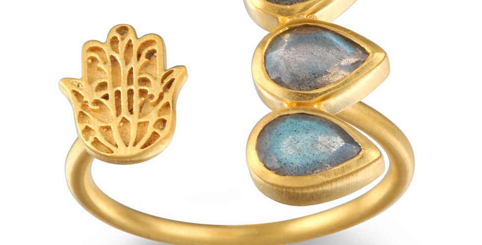 Labradorite Gold Hamsa Adjustable Ring
