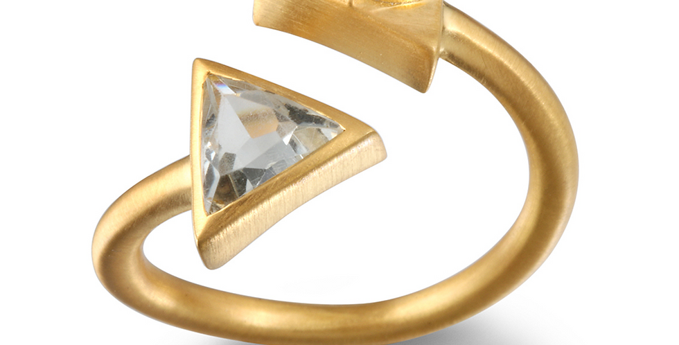 Green Amethyst Gold Plate Triangle Om Ring