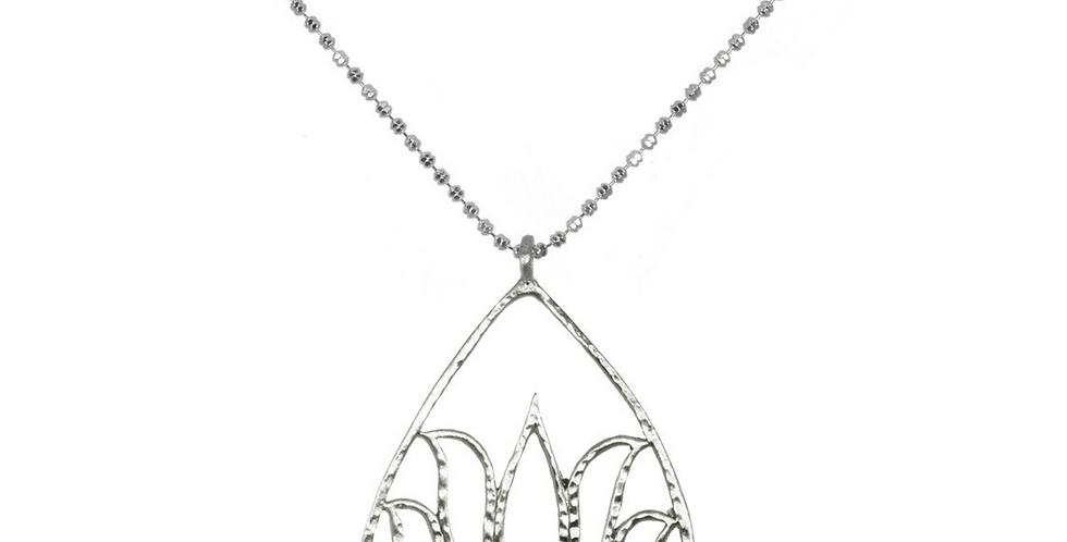 Silver Lotus Necklace - Teardrop Lotus