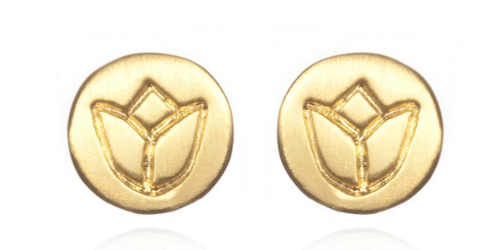 Gold Lotus Stud Earrings