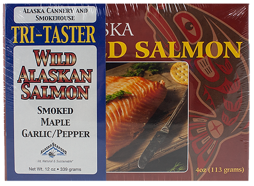 4 oz. Tri-Taster Pacific Salmon (Smoked, Maple, Garlic Pepper)