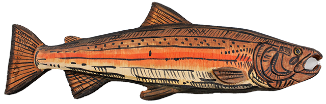 16 inch Wood Salmon Wall Display art A
