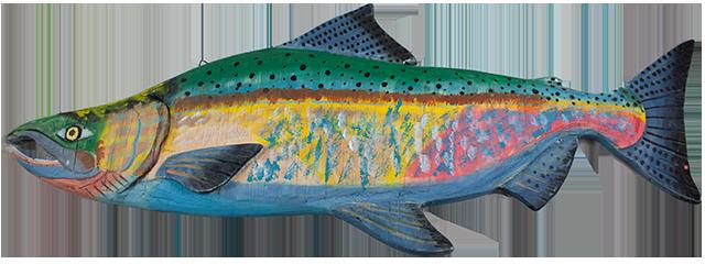 23 inch Wood Salmon Wall Display art A
