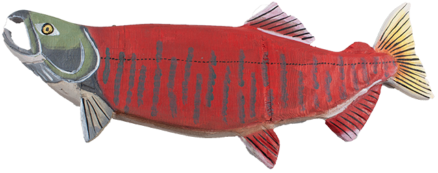 16 inch Wood Salmon Wall Display art B