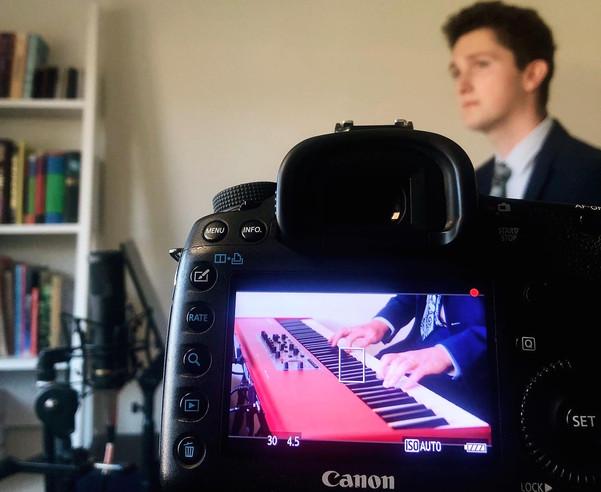 David recording with his Nord Piano 3