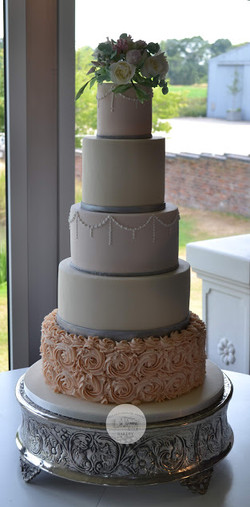 Vintage Blush and Ivory 5 Tier
