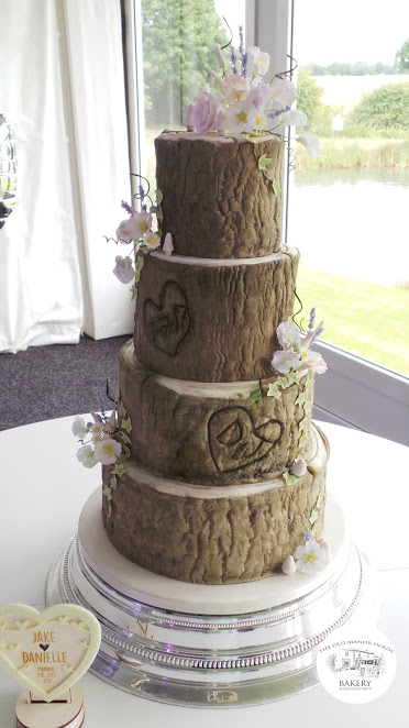 4 tier Log Effect Wedding Cake