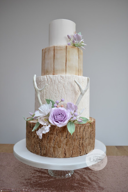 Woodland Flowers Wedding Cake
