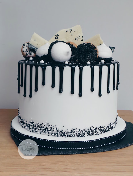 Black and White Drip Cake