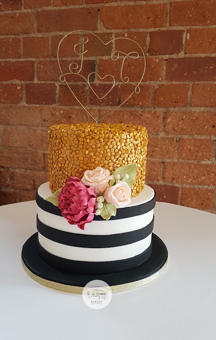 Sequin and Stripe wedding cake
