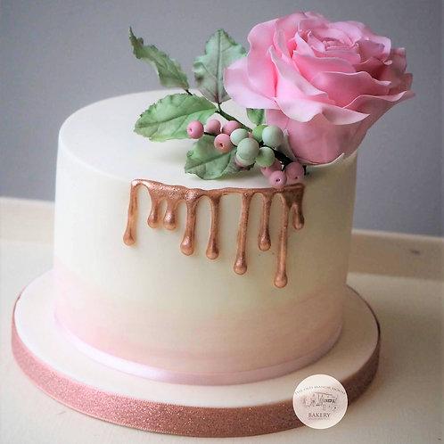 Sharp Edge Drip Cake with Sugar Rose 22nd February 2020 10-4