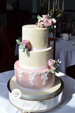 Blush Vintage Lace Wedding cake