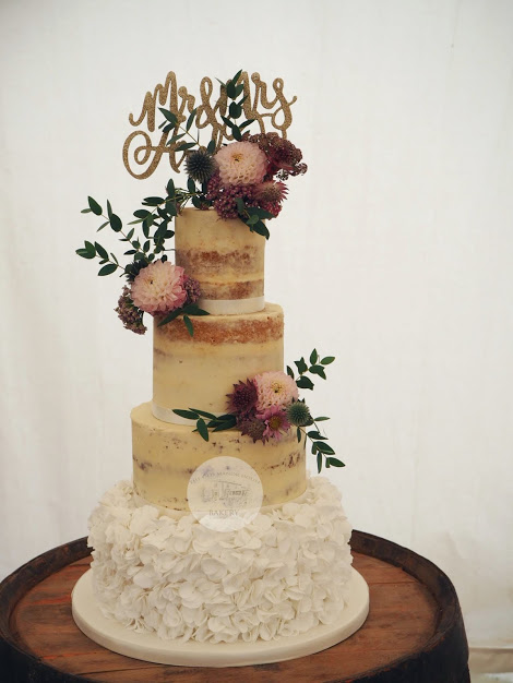 4 tier Semi-naked cake with ruffles
