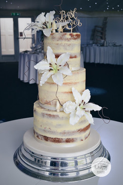 Semi Naked Wedding Cake with Lilies