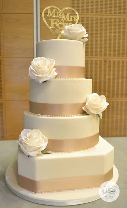 Ivory and Gold 4 tier cake