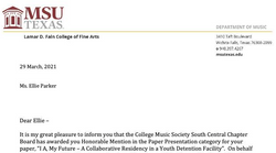 Honorable Mention at the College Music Society South Central Conference