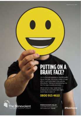 The Benevolent Drinks Industry Charity #NotAlone mental health campaign poster
