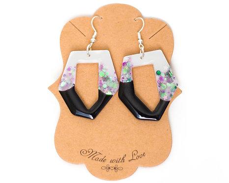 Abstract Hoop Earring | Geometric Earring | Handcrafted Earrings | Resin Earring