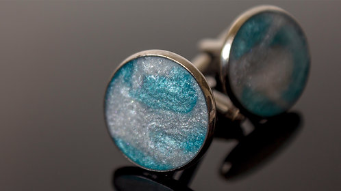 Resin Cufflinks | Round Cufflinks | Blue & White Sparkle Cufflinks