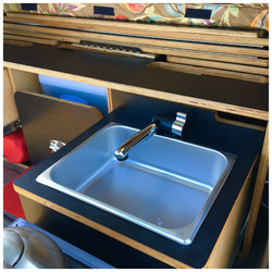 Foldable tap with stainless steel basin sink