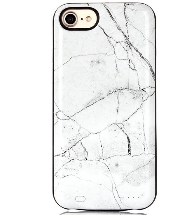 detailed pictures 7b69b 140c8 White Marble Battery Power Case