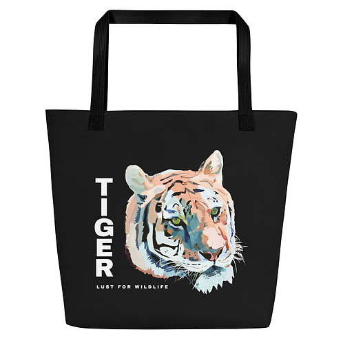 Tiger Black Tote Bag