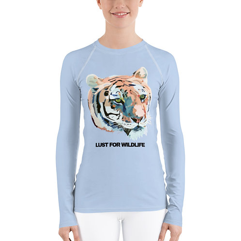 Ice Blue Tiger Women's Rash Guard