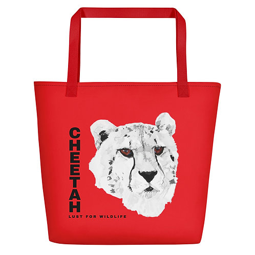 Cheetah Red Tote Bag