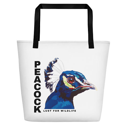 Peacock White Tote Bag