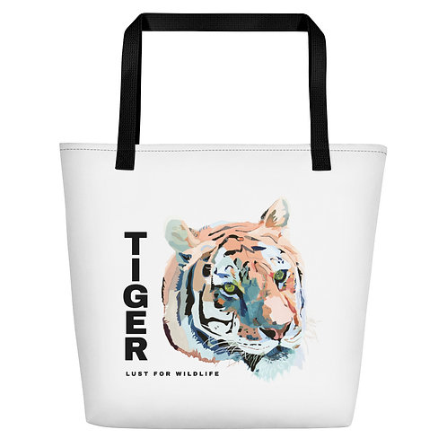 Tiger White Tote Bag