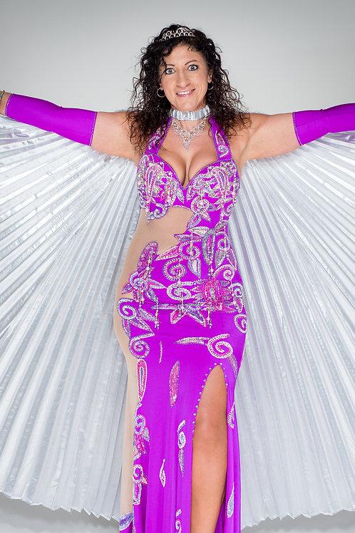Fuscia Dress with mesh panels