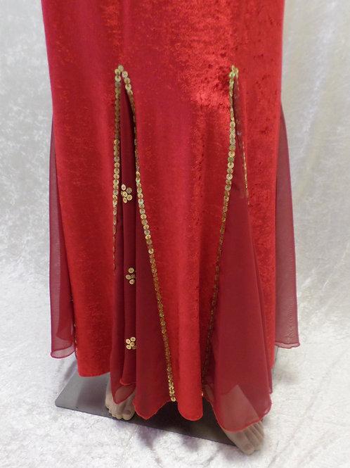 Velvet Skirts with Chiffon Flare Panels