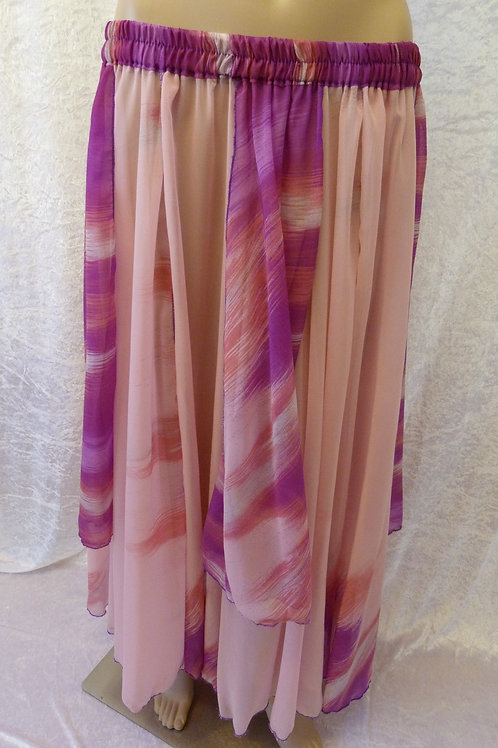 Four Panel Chiffon Skirt - Pinks and Purple
