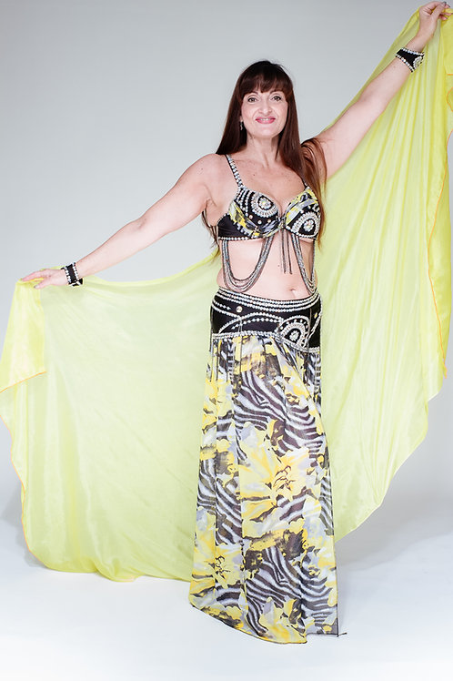 Yellow and Black Bra and Skirt