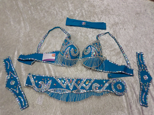 Turquoise/Silver Bra and Belt