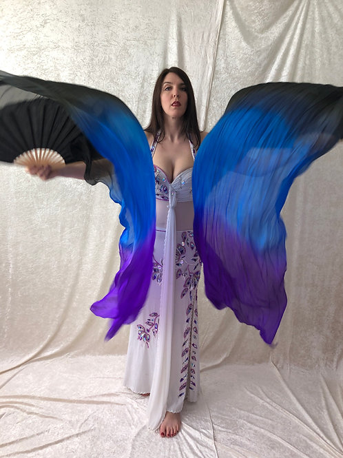 Silk Fan Veils - Black/Blue/Purple