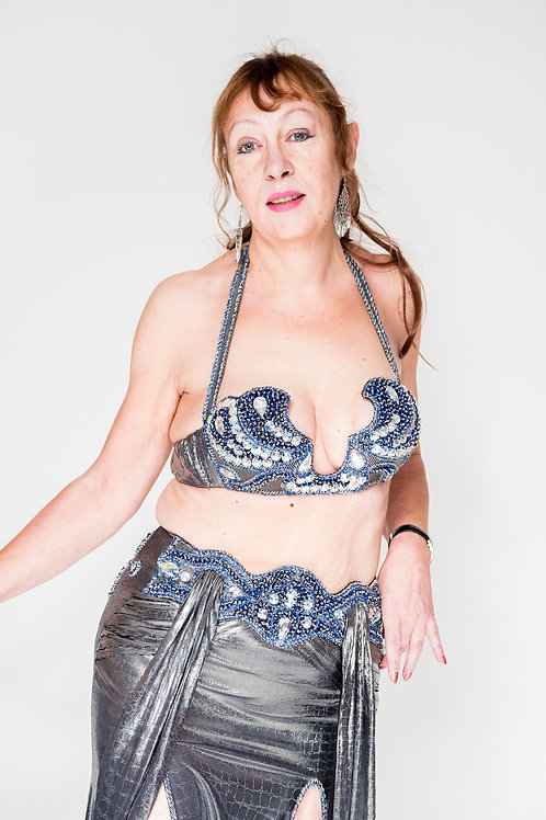 Silver and Blue Bra and Skirt