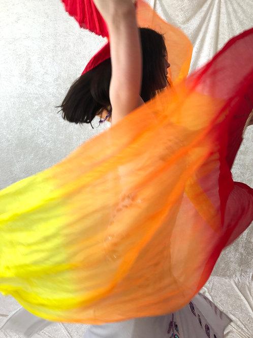 Silk Fan Veils - Red/Orange/Yellow