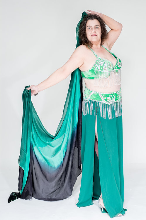 Deep Green/Silver Bra and Belt Set
