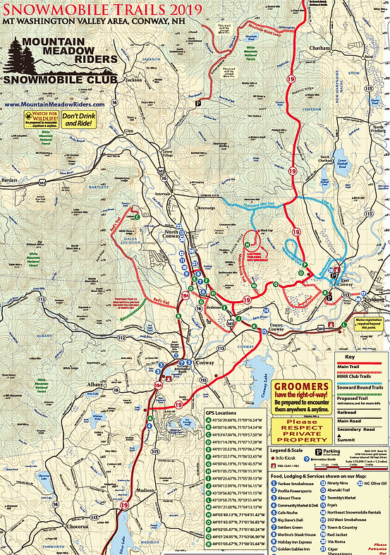 Mountain Meadow Riders Snowmobile Club Conway NH   Trail Map on
