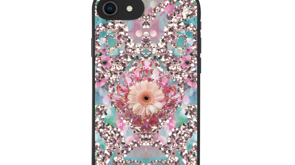 Cute Pink Glitter and flowers biodegradable case by Cherry López Art