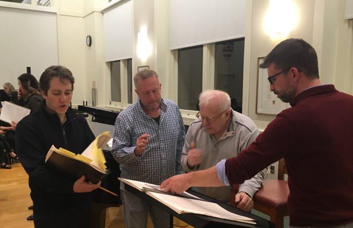 Charles Bruffy, Leonard Slatkin, Stephen Fox, and Benedict Sheehan rehearsing Kastalsky Requiem