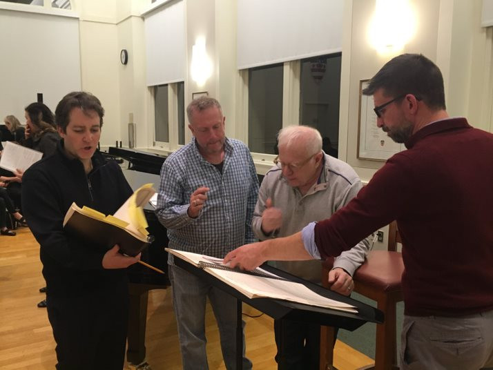 Charles Bruffy, Leonard Slatkin, Stephen Fox, and Benedict Sheehan rehearsing Kastalsky Requiem