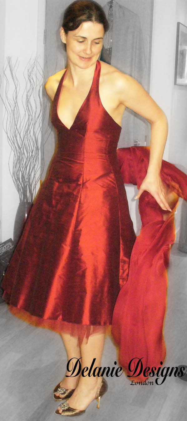 Red Silk Taffeta Bridesmaid