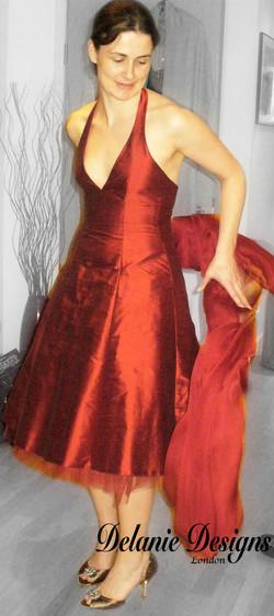 Red Silk Taffeta Bridesmaid