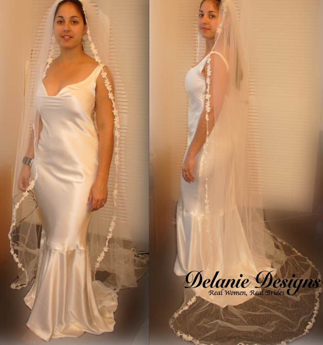 Bias Satin Gown with Veil