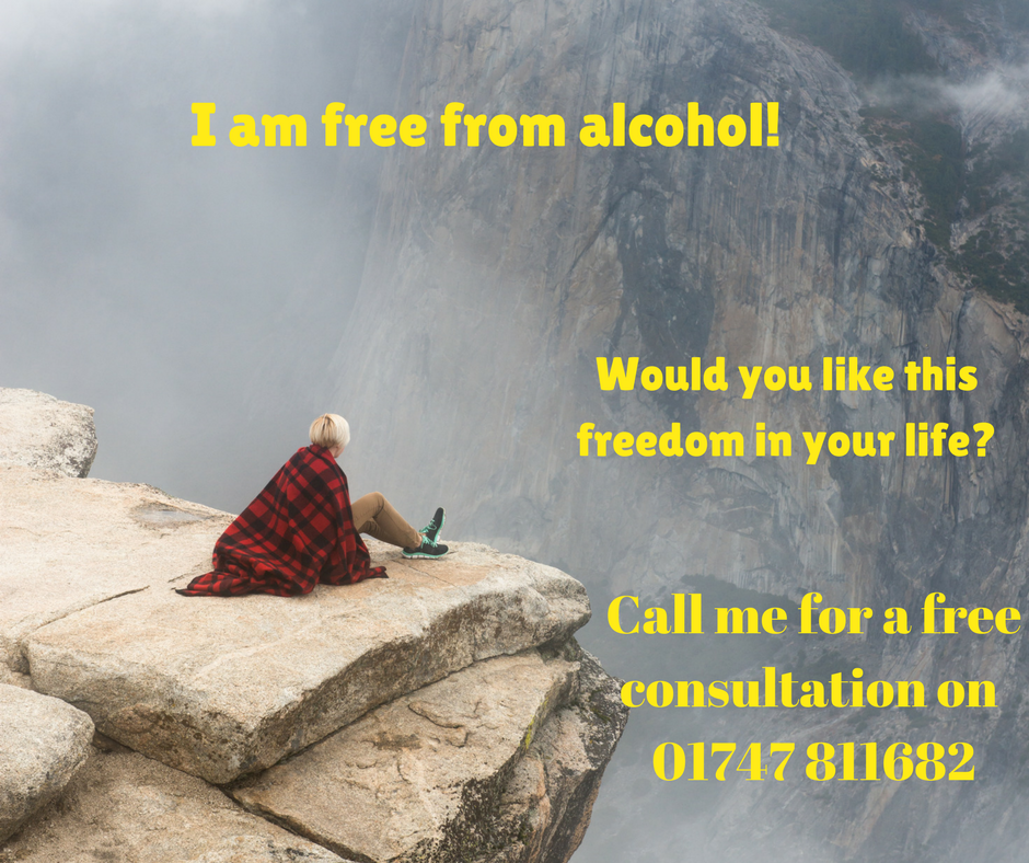 free from alcohol, lady at top of a mountain looking down
