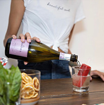 Our very own Strawberry-Rhubarb craft popsicles & Prosecco