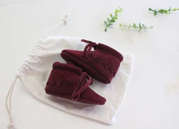 Kele Suede Maroon Lace Boots size 0/6m